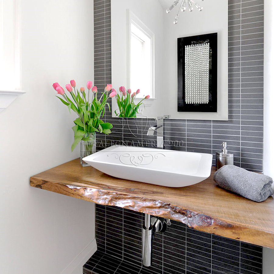 Mensola mobile da bagno in legno massello bordo rustico - Configuratore 3d bagno ...