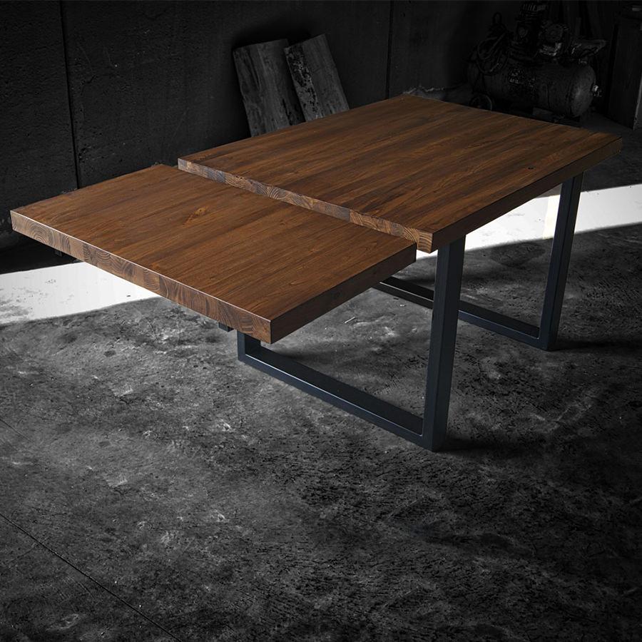 Tavolo in legno massello con prolunga max acquistalo in falegnameria - Tavolo legno e ferro ...
