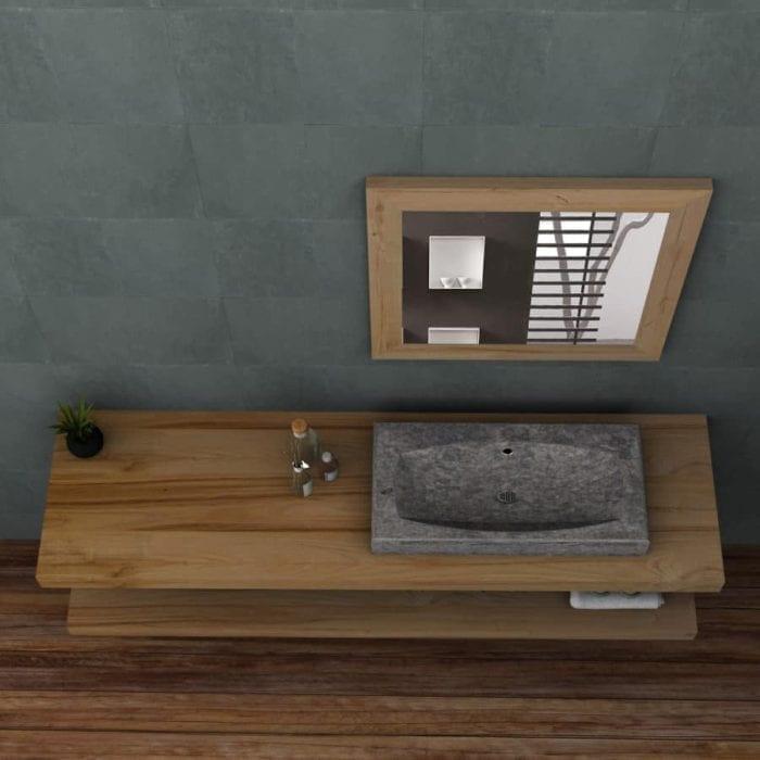 Mobile bango in legno massello con doppio ripiano