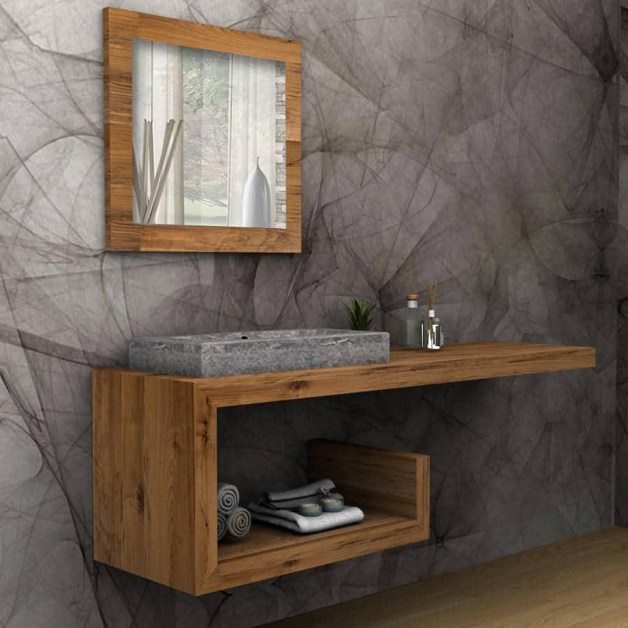 Mobile bagno legno massello sospeso denise falegnameria900 - Mobile bagno legno massello ...