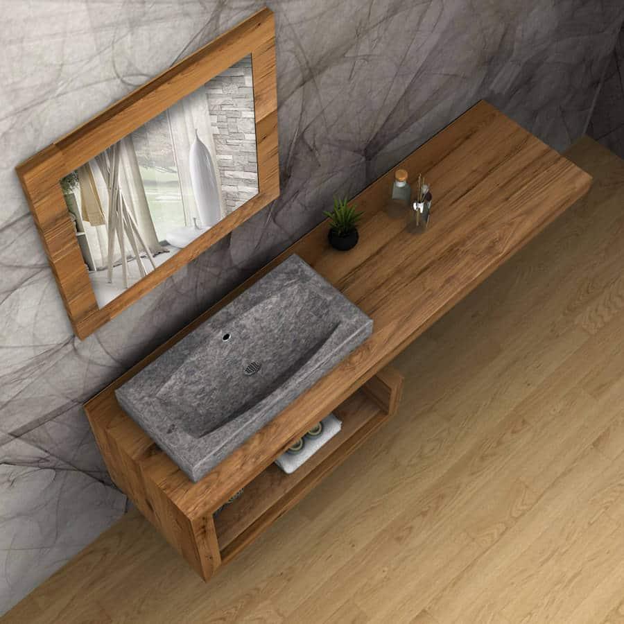 Mobile bagno legno massello sospeso denise falegnameria900 - Top legno massello bagno ...