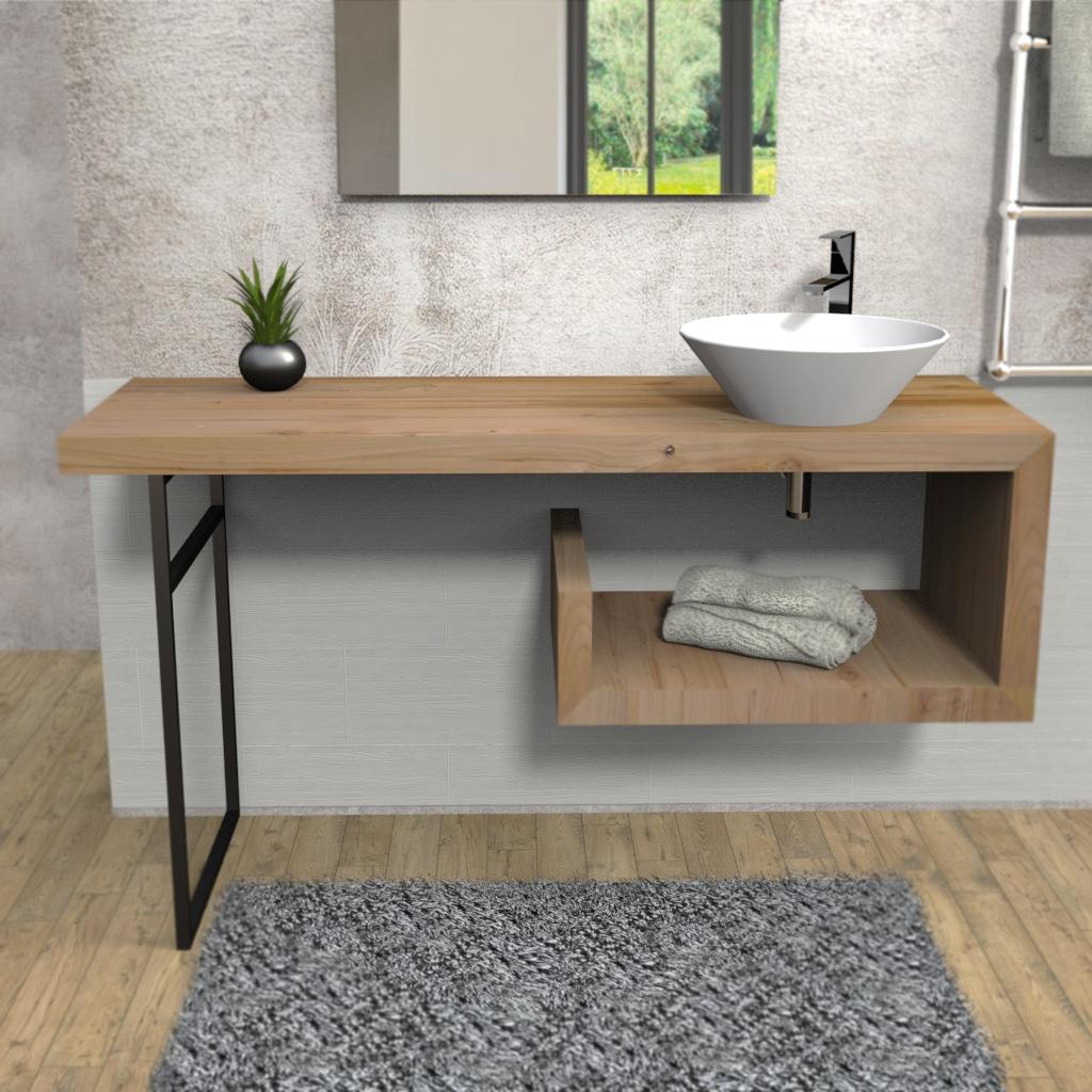 Mobile bagno legno massello sospeso denise falegnameria900 for Mobile bagno legno