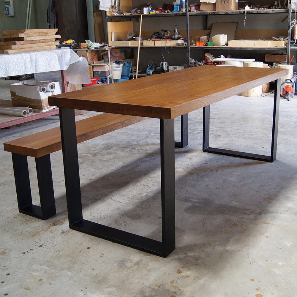Tavolo in legno massello con panca su misura ora in for Tavolo cucina con panca