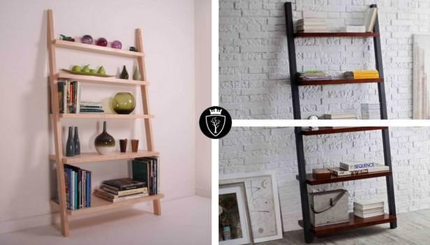Libreria a scala in legno