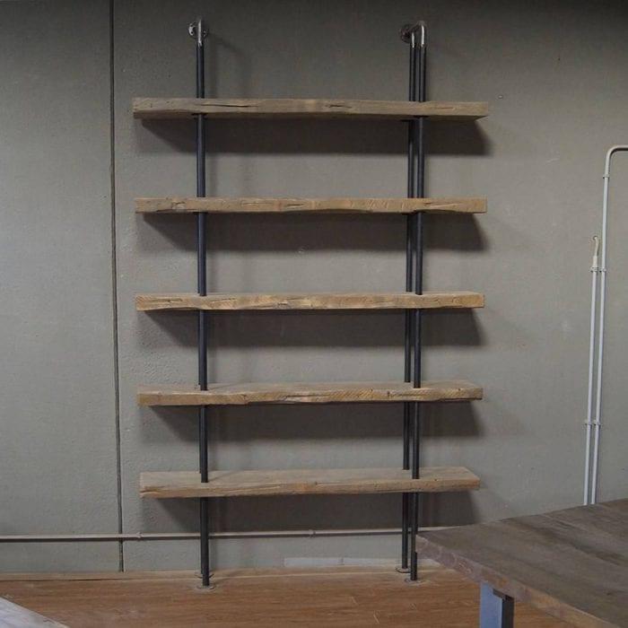 Libreria mensole in legno massello e ferro Nora