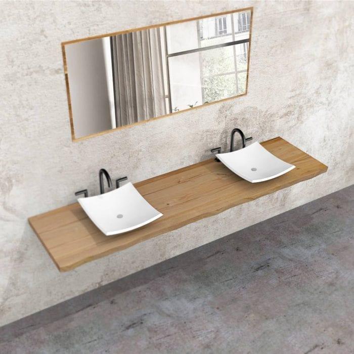 Mensola bagno in legno massello doppio lavabo