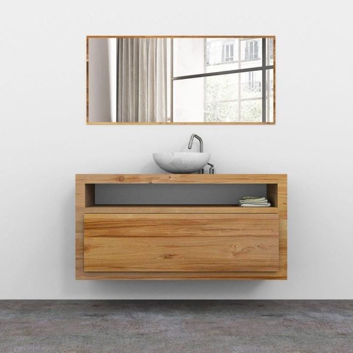 Mobile bagno in legno massello sospeso