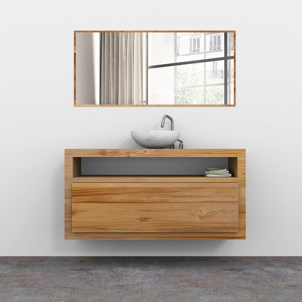 Mobile bagno in legno massello sospeso con cassetto in - Configuratore 3d bagno ...