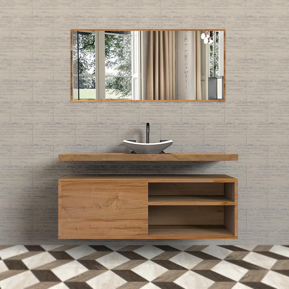 Mobile bagno in legno massello di castagno con mensola sospeso for Mobile bagno legno