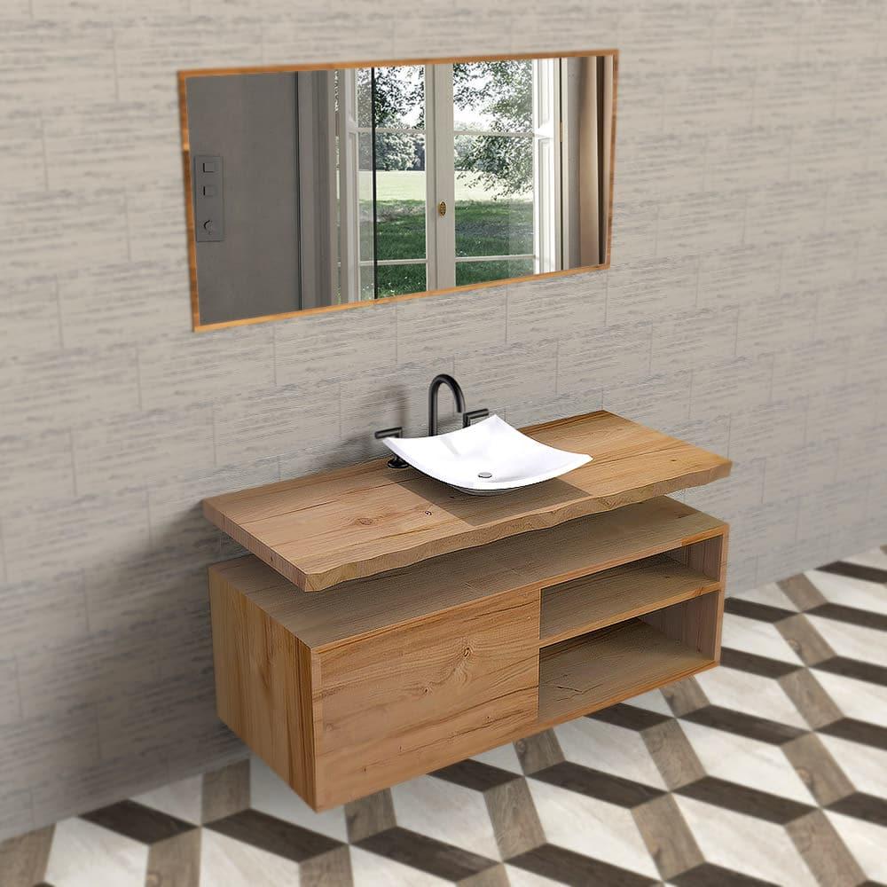 Mobile bagno in legno massello di castagno con mensola sospeso - Mobile legno bagno ...