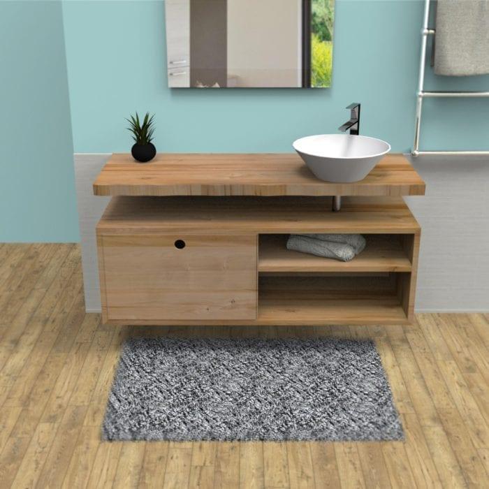 Mobile bagno sospeso in legno massello