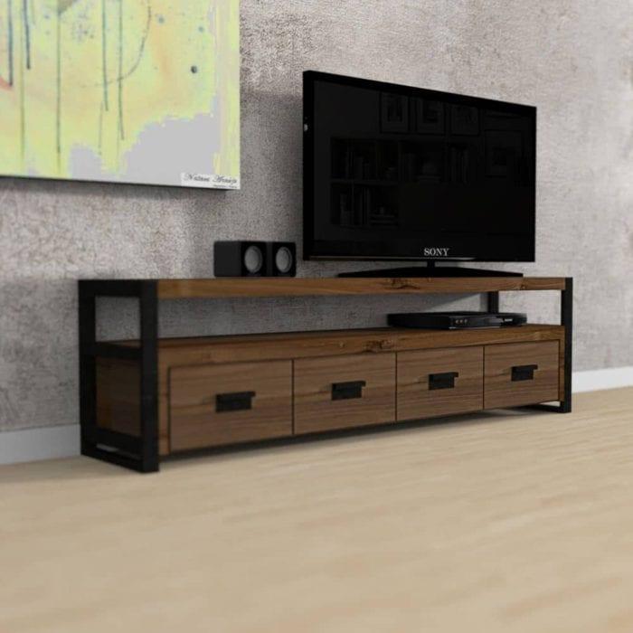 Mobile porta tv in legno massello e ferro