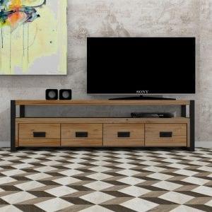 Mobile porta tv design in legno massello e ferro