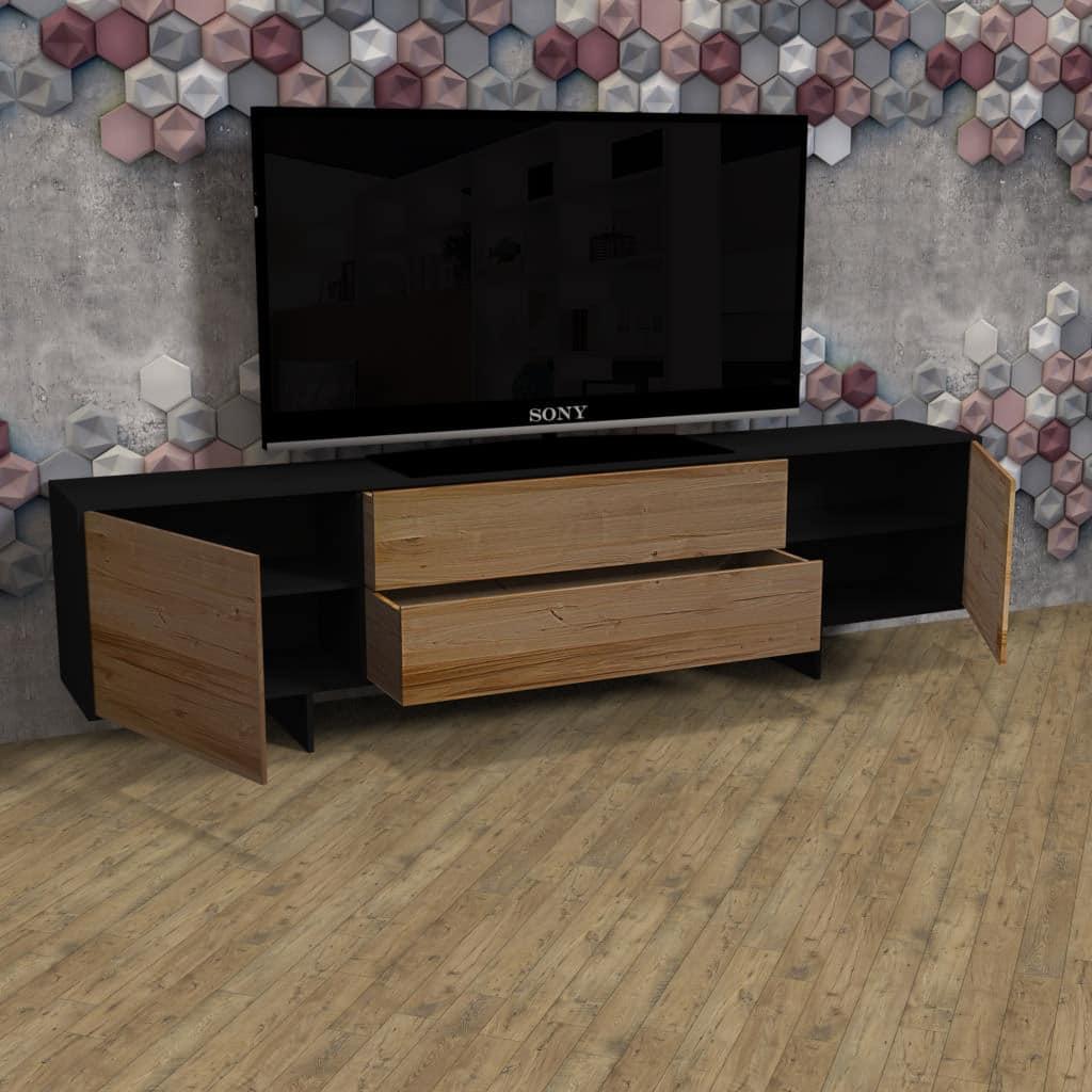Mobili In Ferro Di Design.Mobile Porta Tv Di Design In Legno Massello Di Castagno E Ferro Ellen
