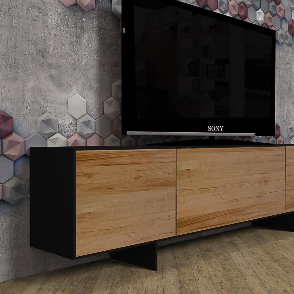 Mobili In Ferro Design.Mobile Porta Tv Di Design In Legno Massello Di Castagno E Ferro Ellen