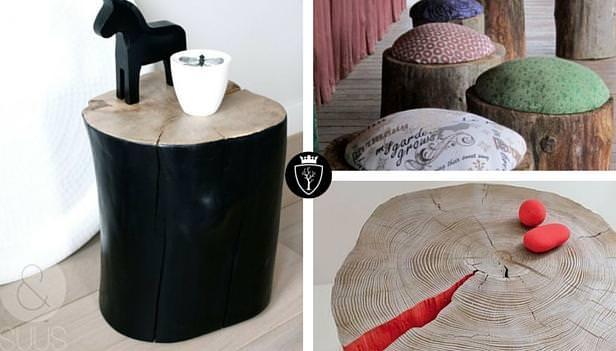 Idee creative realizzate con tronchi di legno falegnameria