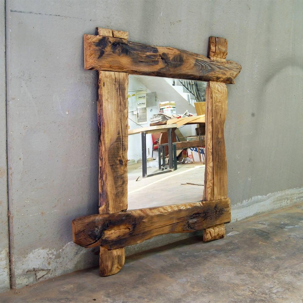 Specchio in legno massello con travi opera nazionale - Specchio in legno ...