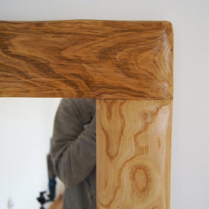 Specchio il legno massello artigianale realizzato a mano