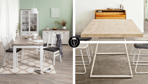 Tavolo in legno massello sbiancato