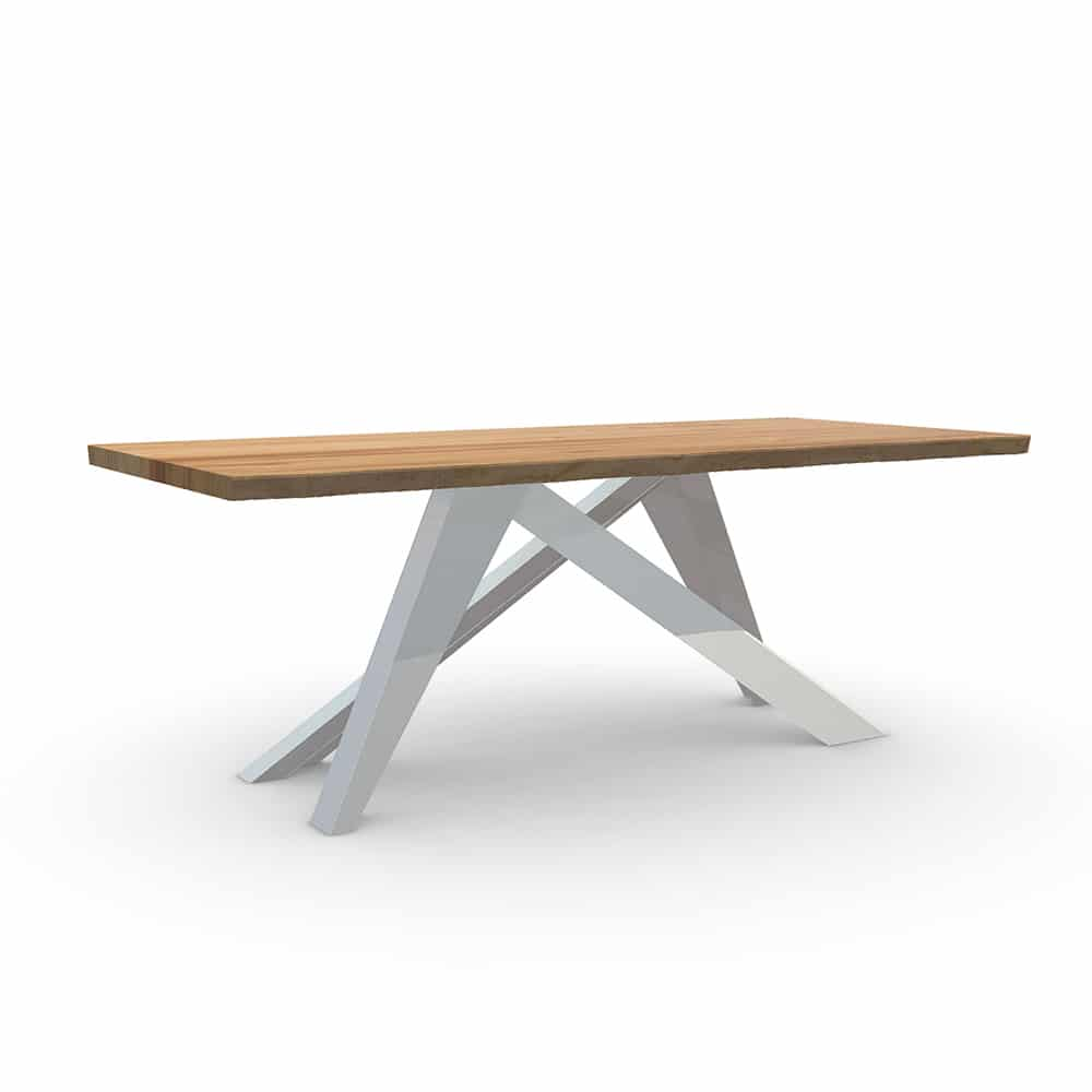 Tavolo in legno massello di castagno dal design moderno con gambe in ferro - Tavoli in legno con gambe in ferro ...