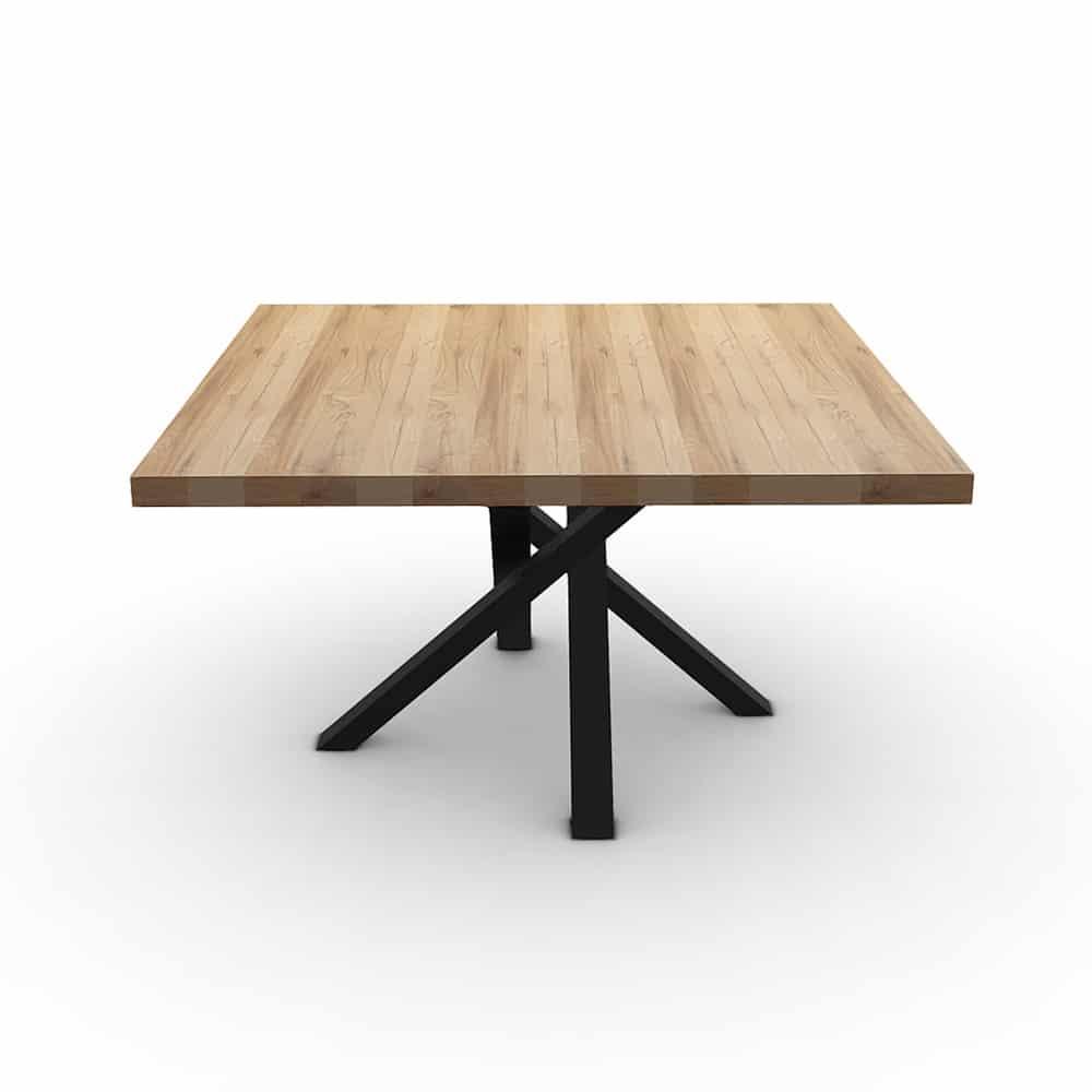 Tavolo in legno massello quadrato con gamba centrale di design