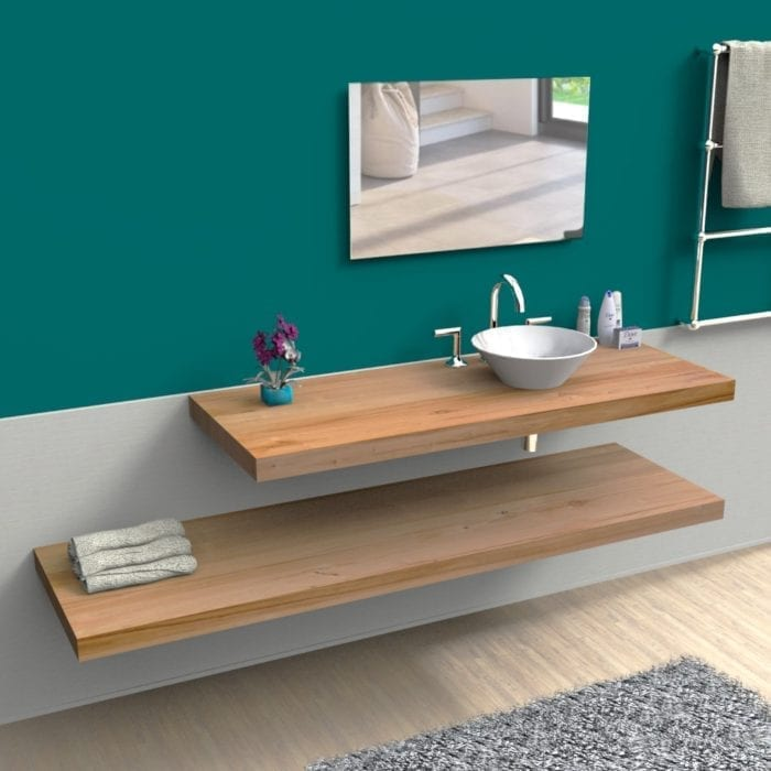 Doppia mensola in legno per il bagno