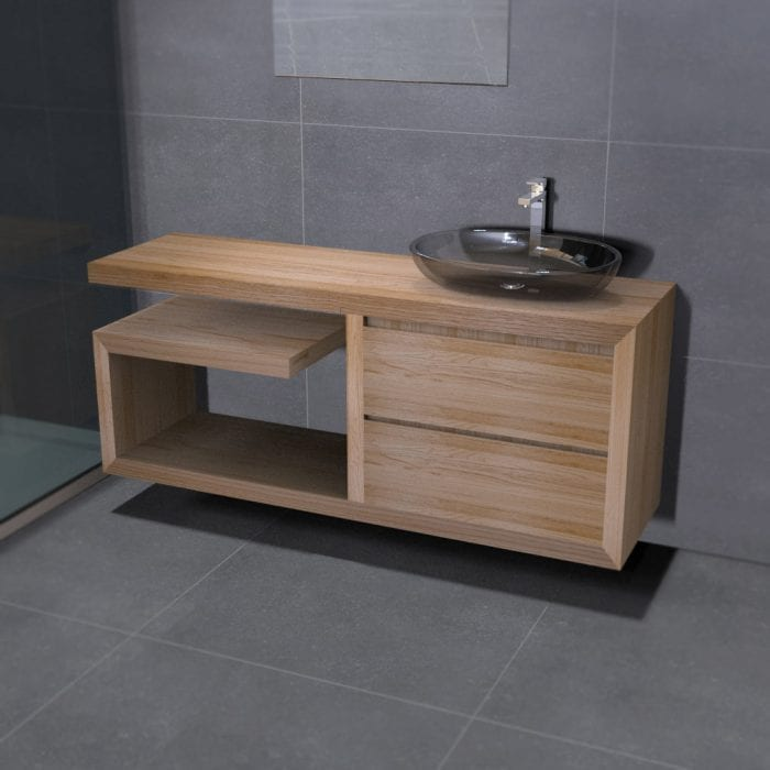 Mobile da bagno sospeso da 140 in legno massello
