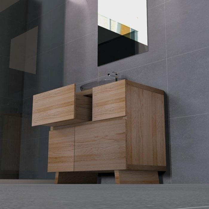 Mobile da bagno sottolavabo in legno di castagno da 90cm