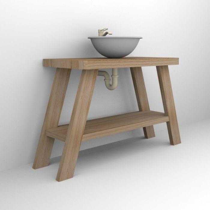 Mobile bagno in legno massello porta lavabo