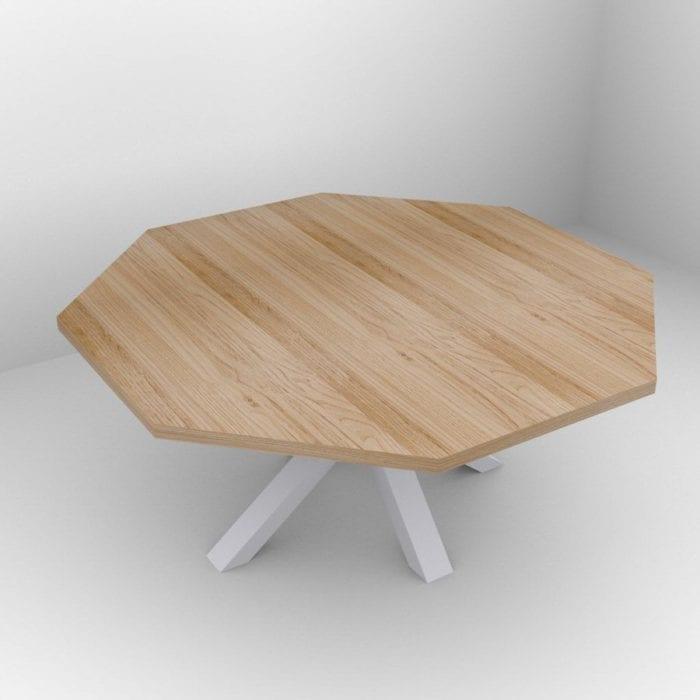Tavolo ottagonale in legno massello di castagno 8 posti