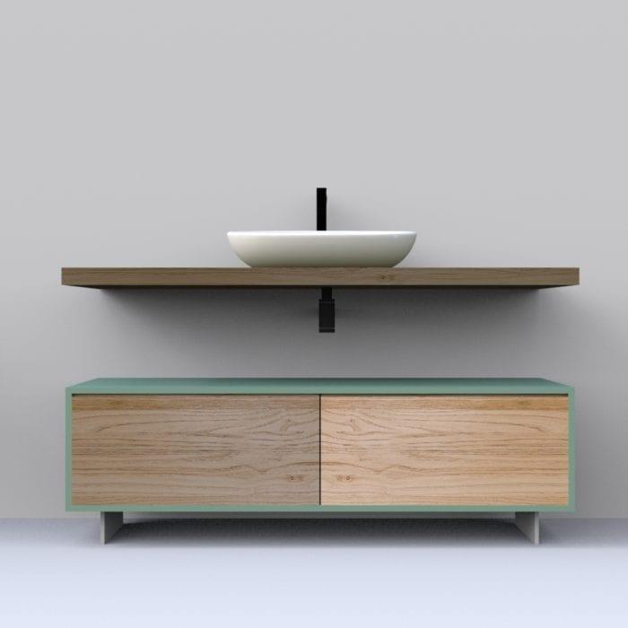 Mobile bagno in legno massello con cassetti e mensola sospesa