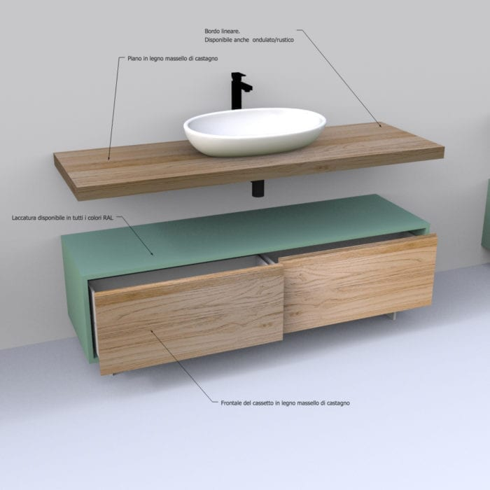 Dettagli mobile bagno in legno massello con cassetti e mensola sospesa