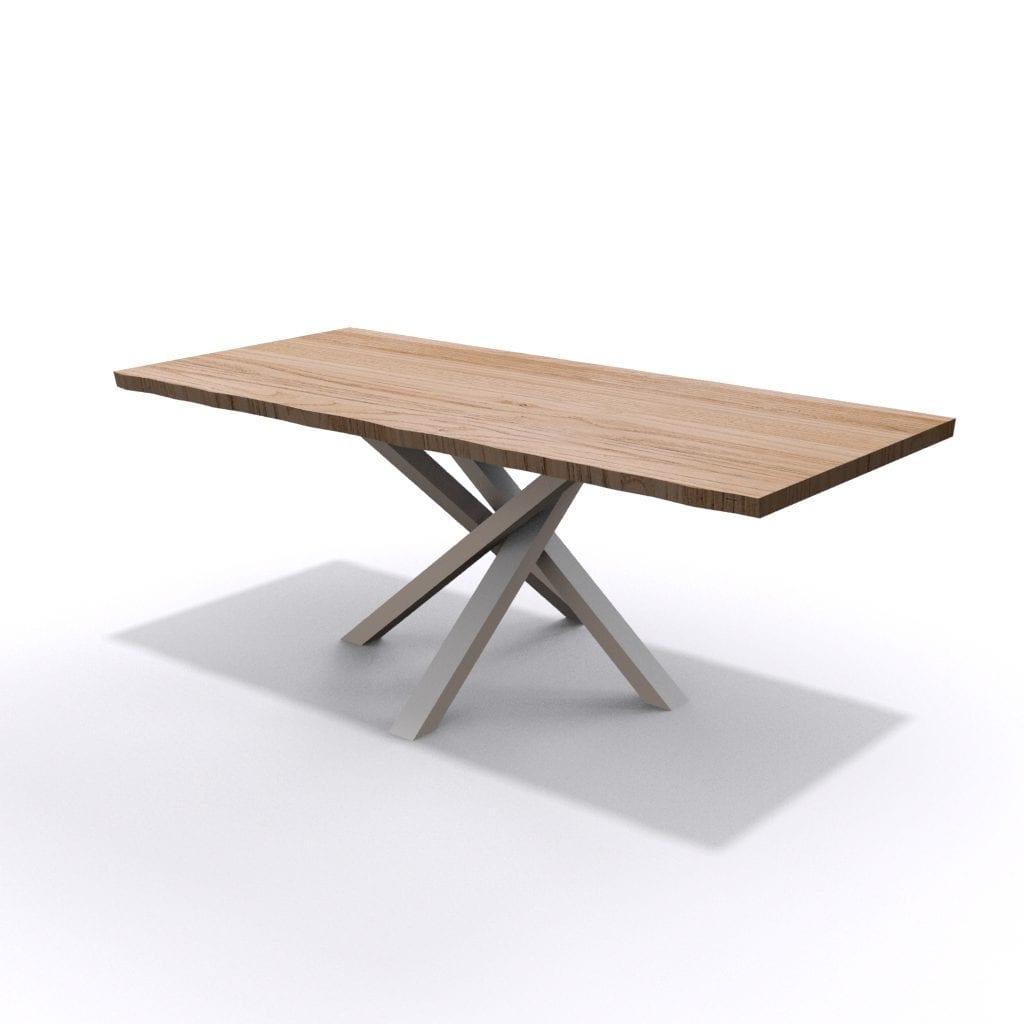 Tavolo in legno con gambe incrociate in ferro bianco