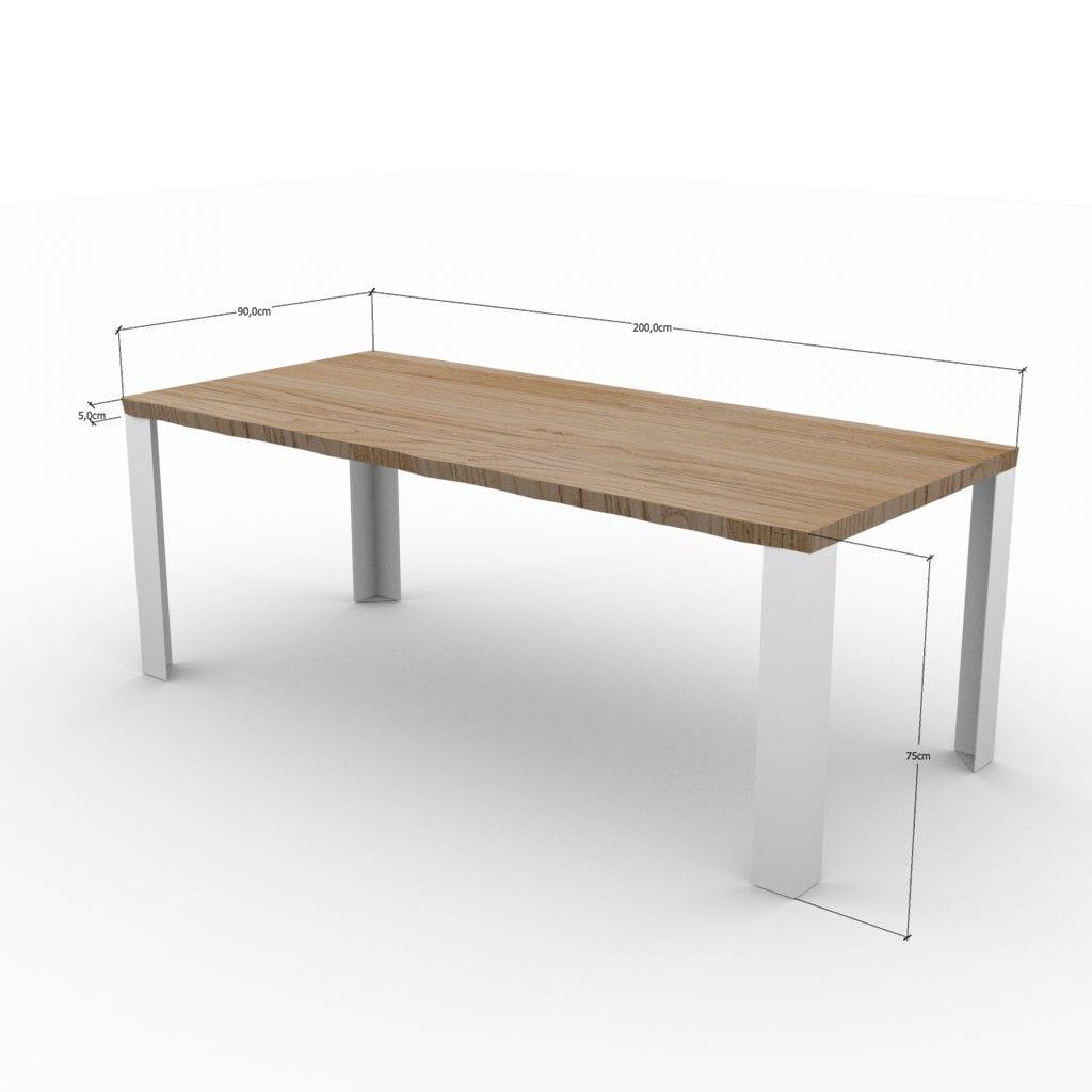 Dimensioni tavolo in legno massello con gambe in ferro Robert