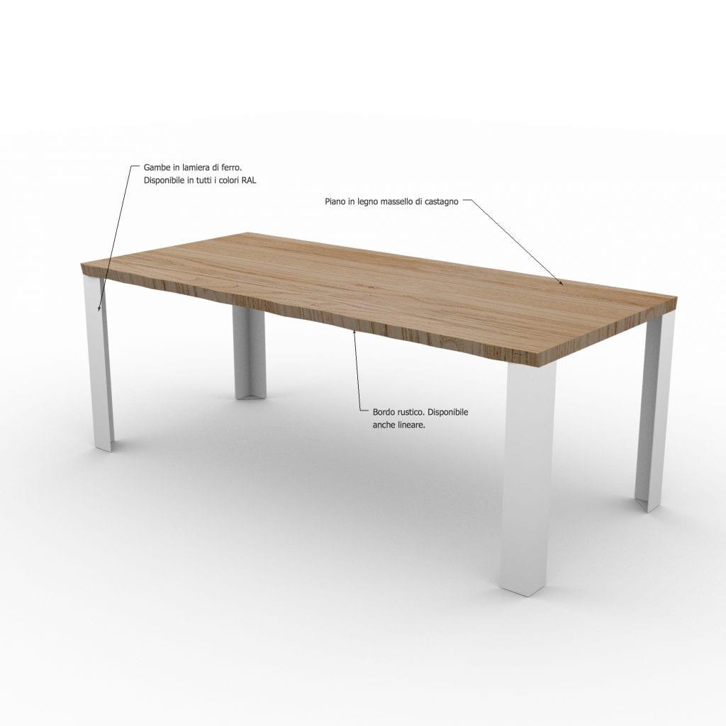Dettagli tavolo in legno massello con gambe in ferro Robert