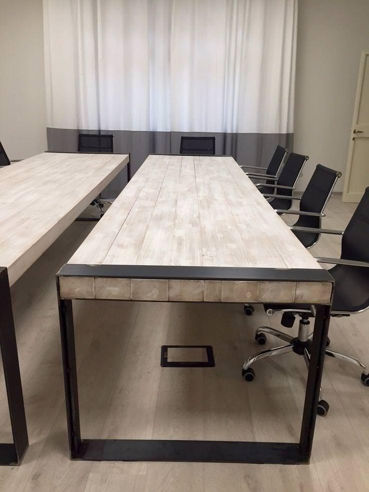 Tavoli in legno massello sbiancato falegnameria900 for Tavoli in legno e acciaio